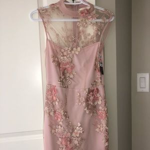 Dress pink embroidered rose NWT